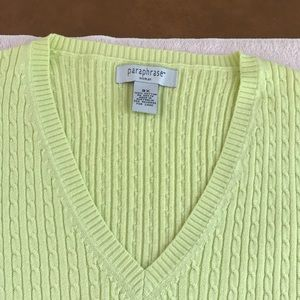 Light green v neck s/less 100 cotton .